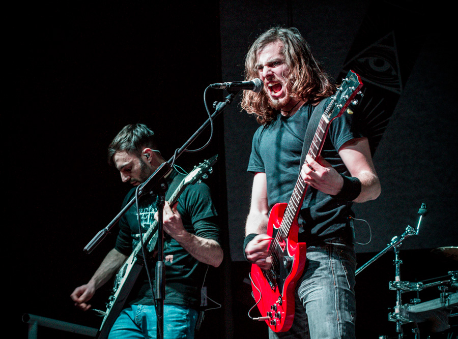 Live photo of the Death Thrash metal band Veins on the stage of the Discoteca Revolver in San Dona di Piave, during the 2018 Europe Tour with Nile and Terrorizer.