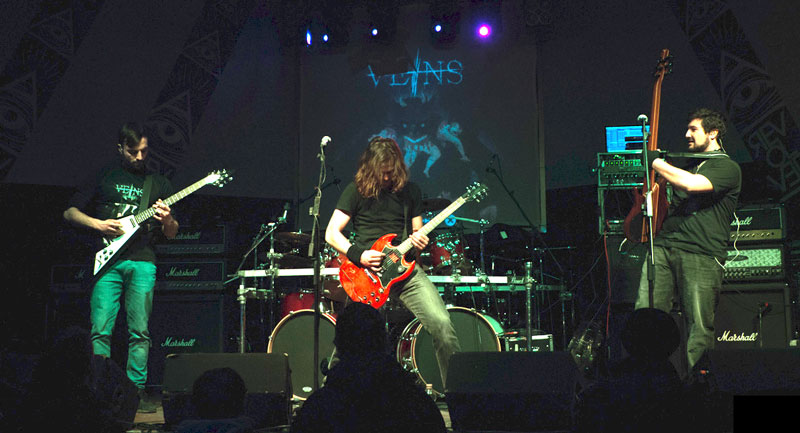 Photo of the Death Thrash Metal band Veins during a concert.